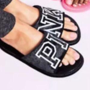 New Vs Pink Velvet Slipper Slides